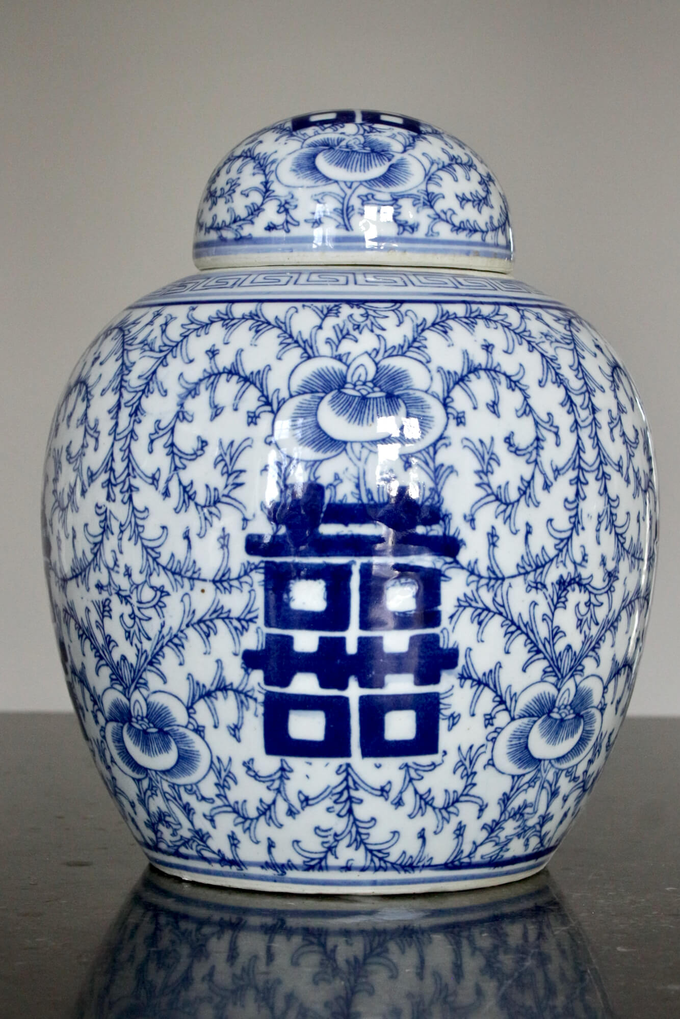 Porzellandose blau-weiß China, 25xø20