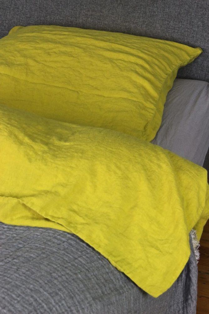 Leinenbettwäsche aus gewaschenem Leinen, gelb