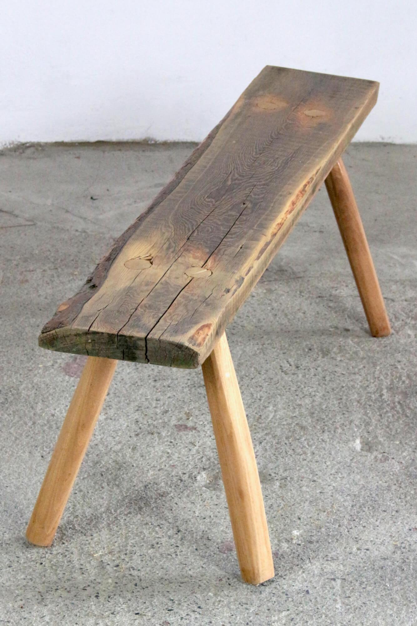 Derbe Bank aus altem Naturholz rustikal, 114 cm