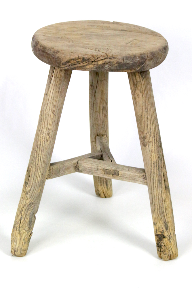 Runder Holzhocker antik