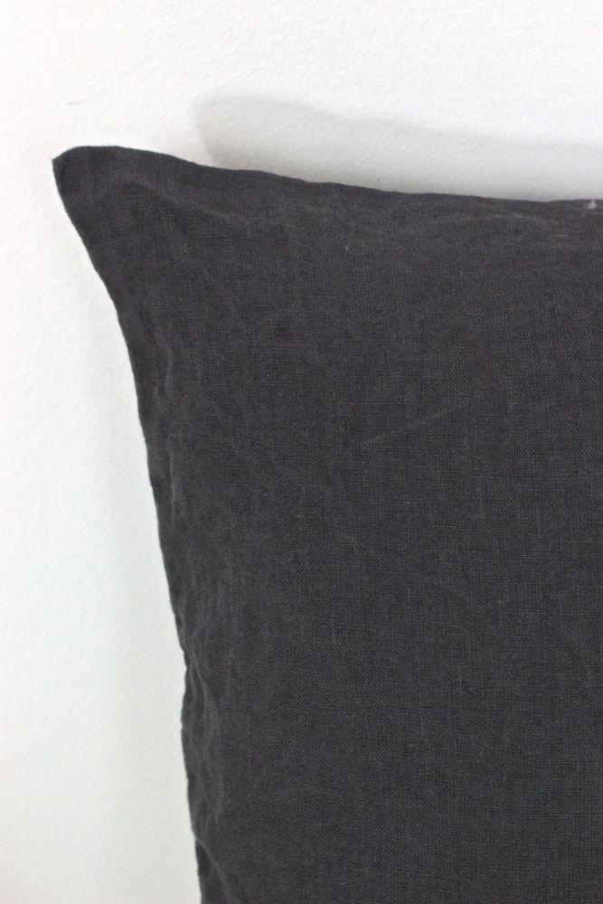 Kissenbezug Waschleinen Dunkelgrau 40x40