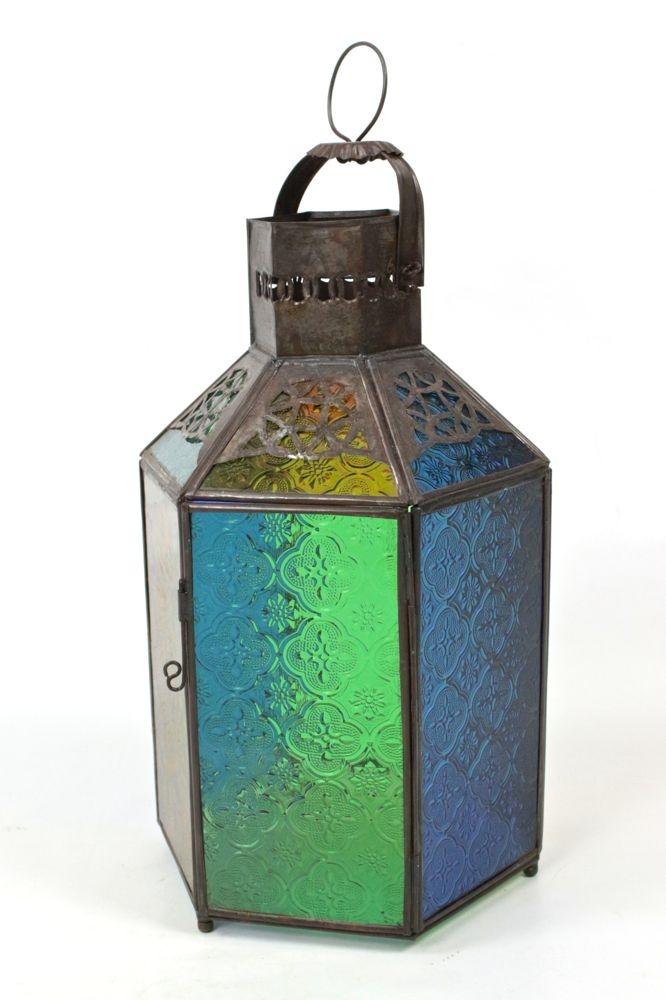Laterne mit buntem Glas, 40xø18