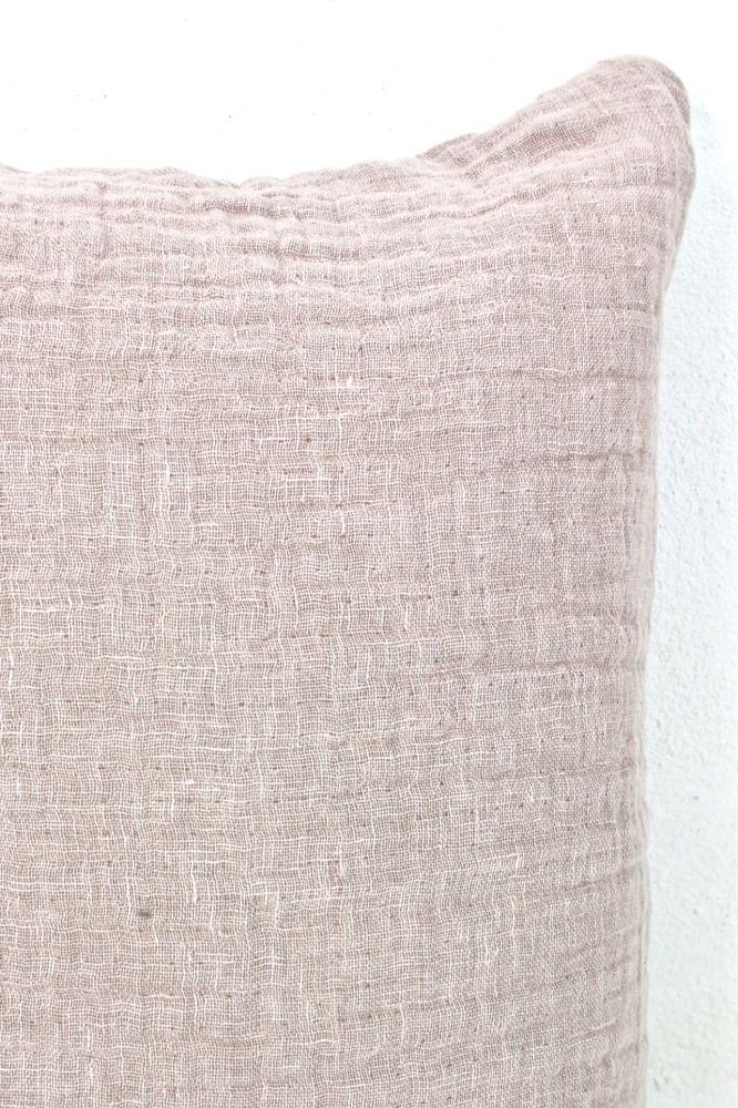Leinenkissen rosa, stone washed, 60x40