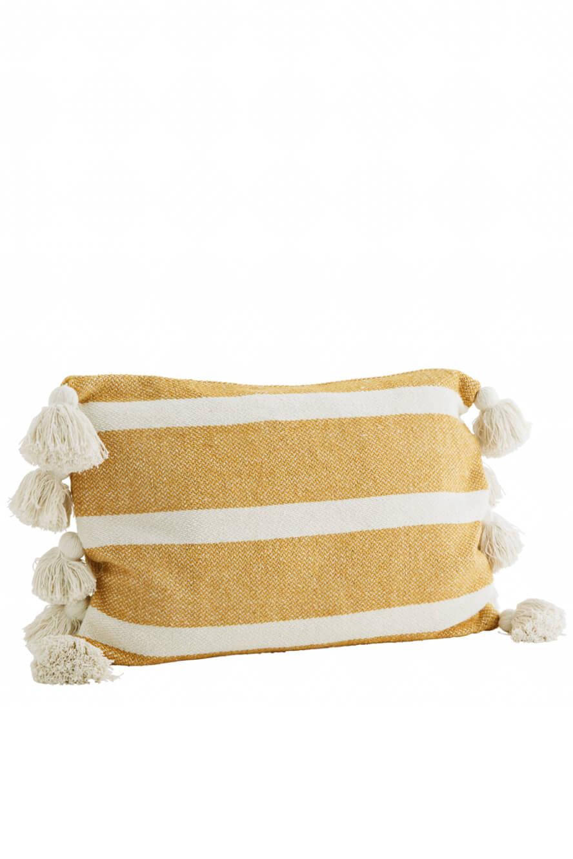Streifenkissen Baumwolle gelb-weiß 60x40