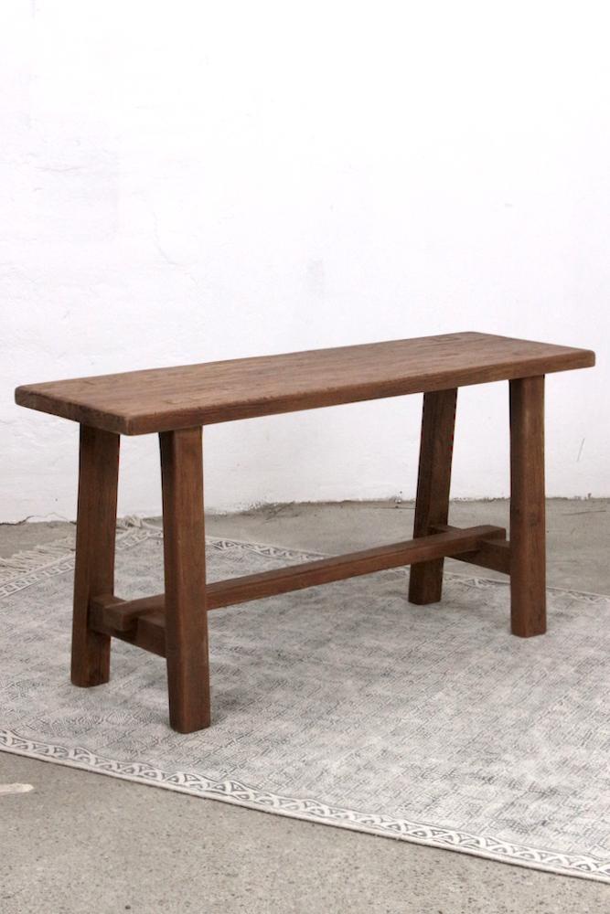 Kleine Holzbank aus Teakholz, 100 cm