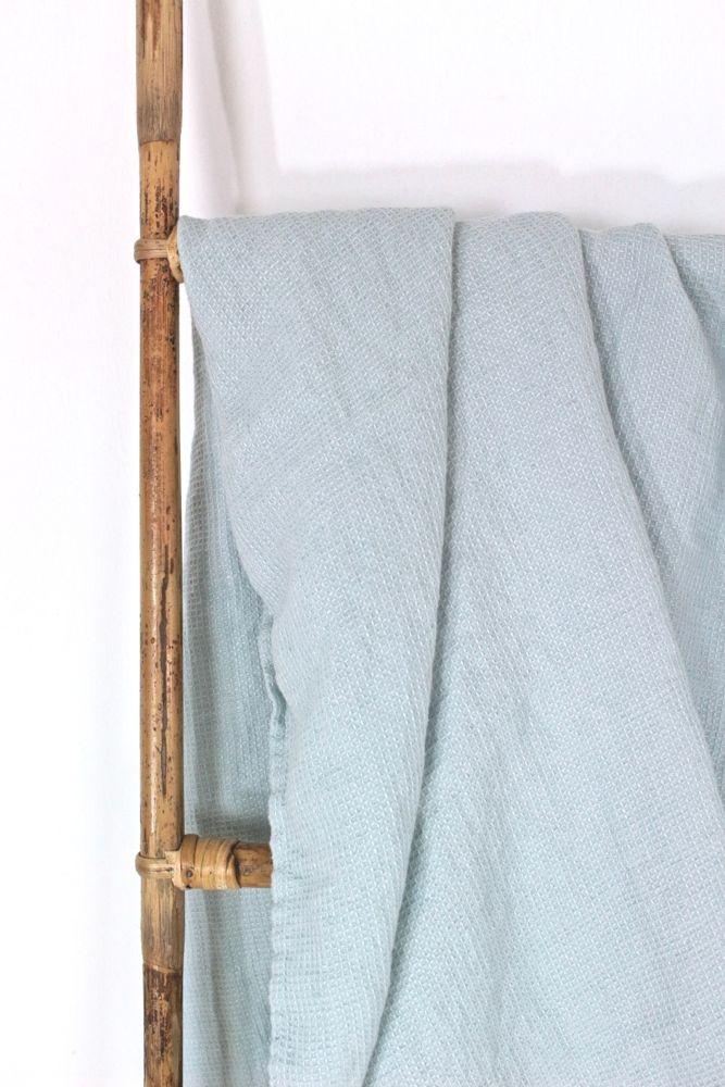 Leinen Badetuch stone washed hellblau, 130x75