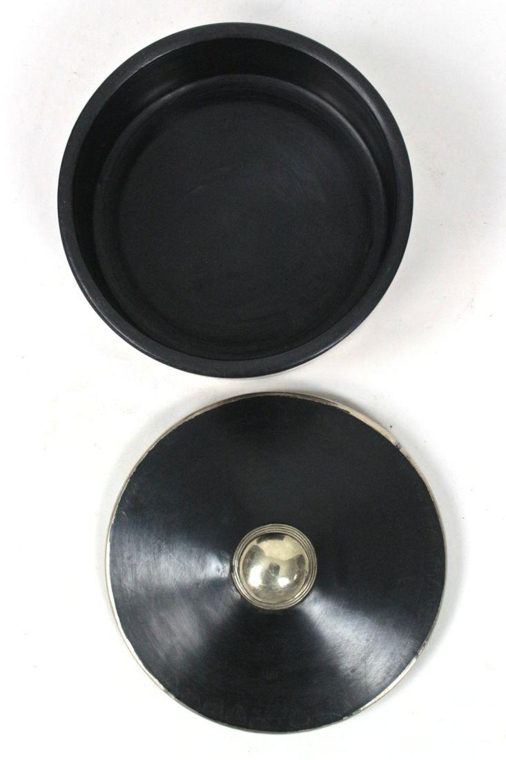 Keramikdose schwarz mit Silber, S