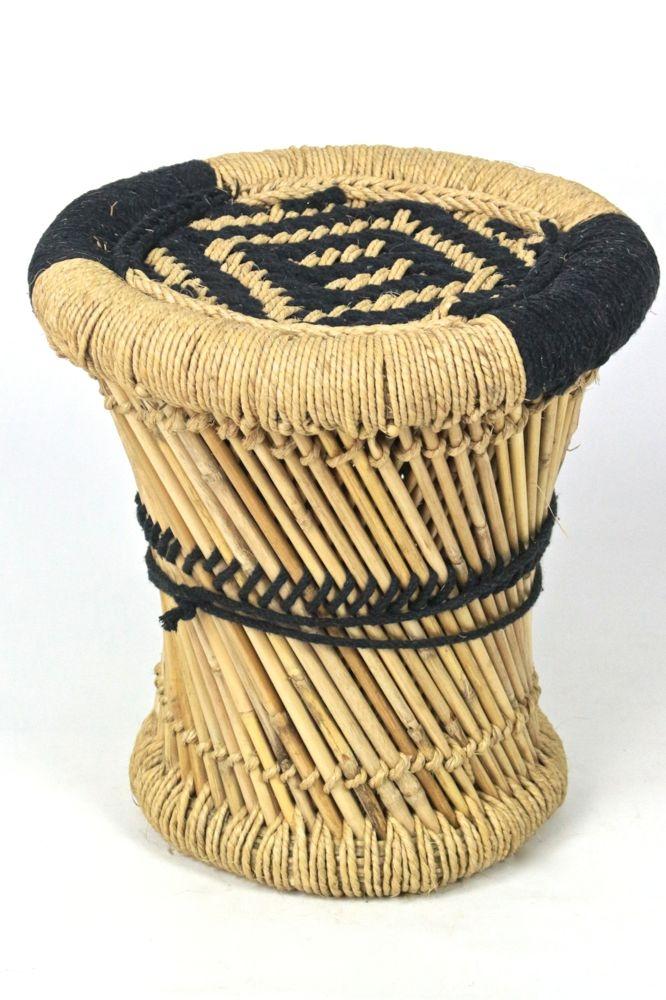 Bambus Hocker mit schwarzem Muster, S
