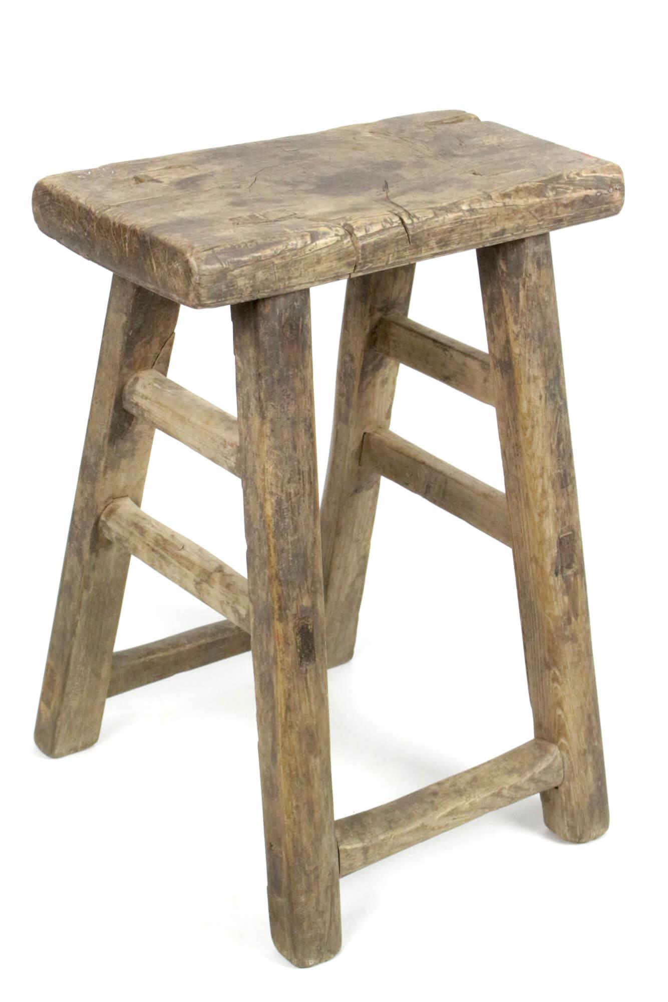 Holzhocker antik rustikal Wabi Sabi