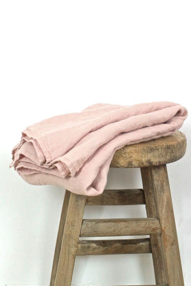Großes Leinenhandtuch rosa, 130x75