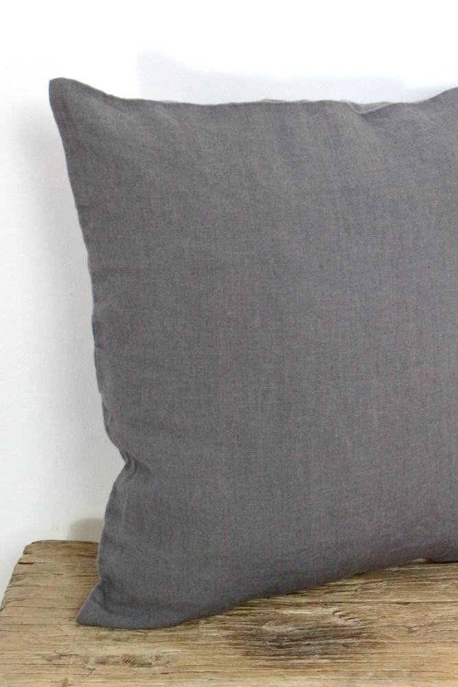 Kissenhülle Waschleinen stahlgrau, 40x40