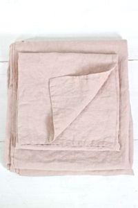 Leinenbettwäsche rosa,  gewaschenes Leinen
