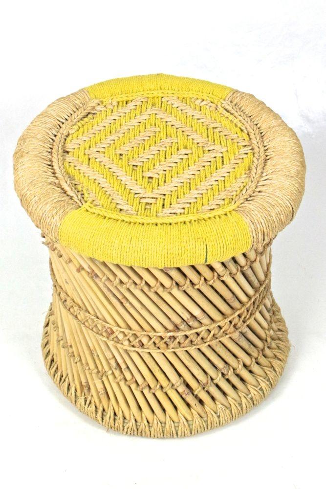 Bambus Tisch/Hocker gelb L