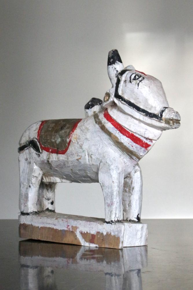 Kuhskulptur Holz, weiß