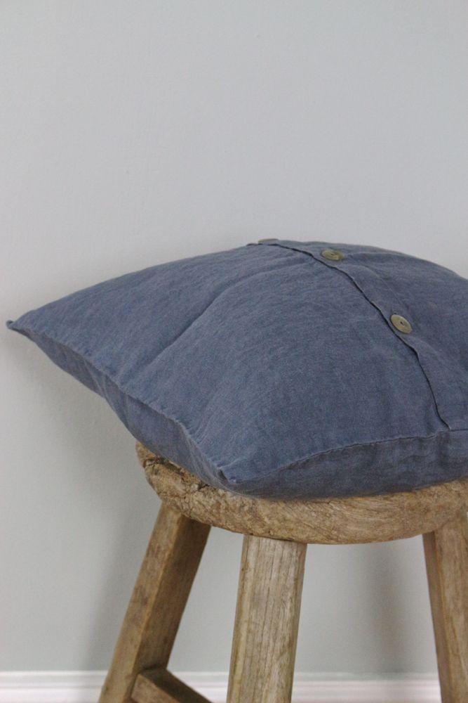 Leinenkissen stonewashed Blaubeere 40x40