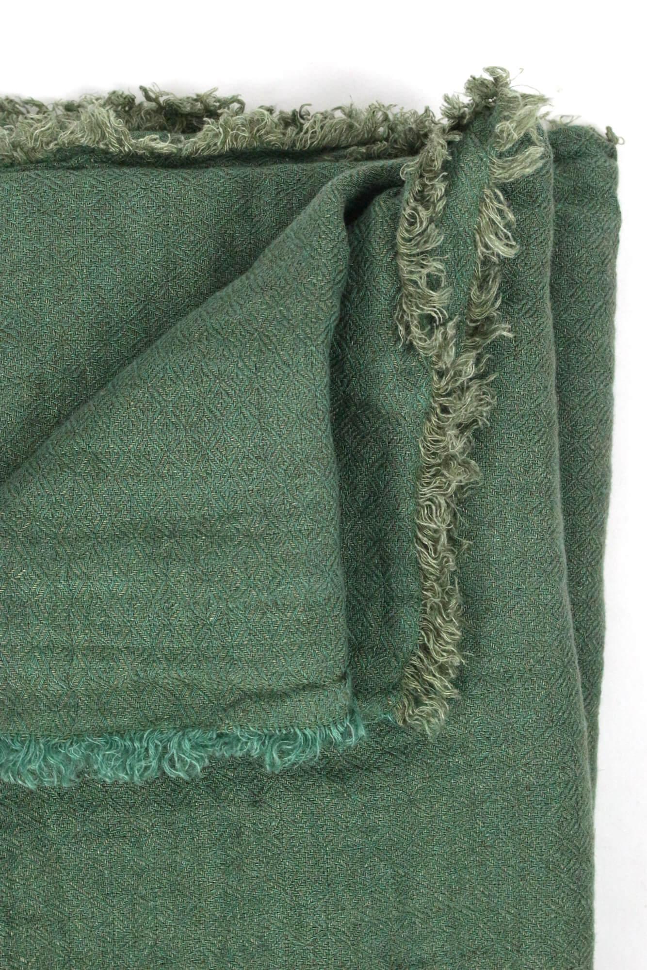 Leinenplaid tannengrün gewaschenes Leinen