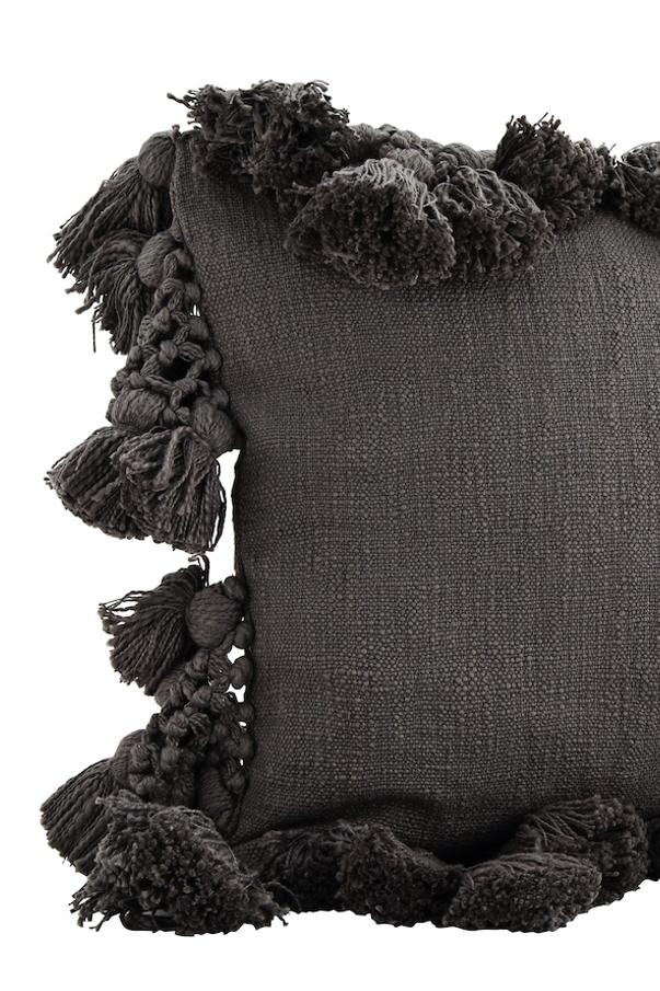 Boho Kissen grau mit Bommeln und Quasten, 45x45