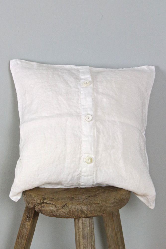 Kissen cremeweiß aus gewaschenem Leinen 40x40