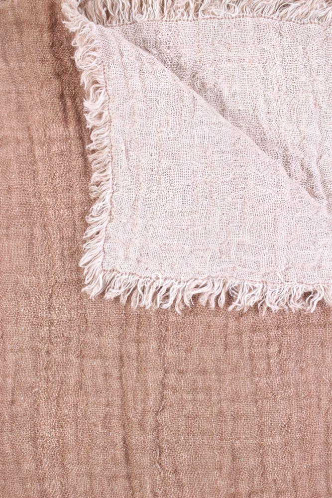 Plaid aus Leinen rosa / altrosa