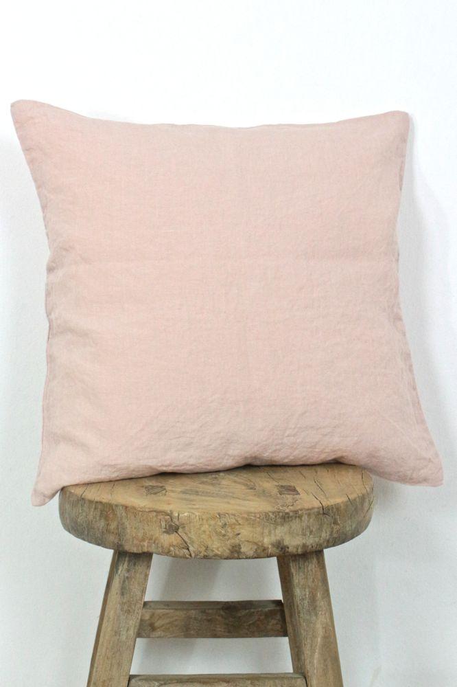 Leinen Kissenhülle stone washed, rosa 40x40