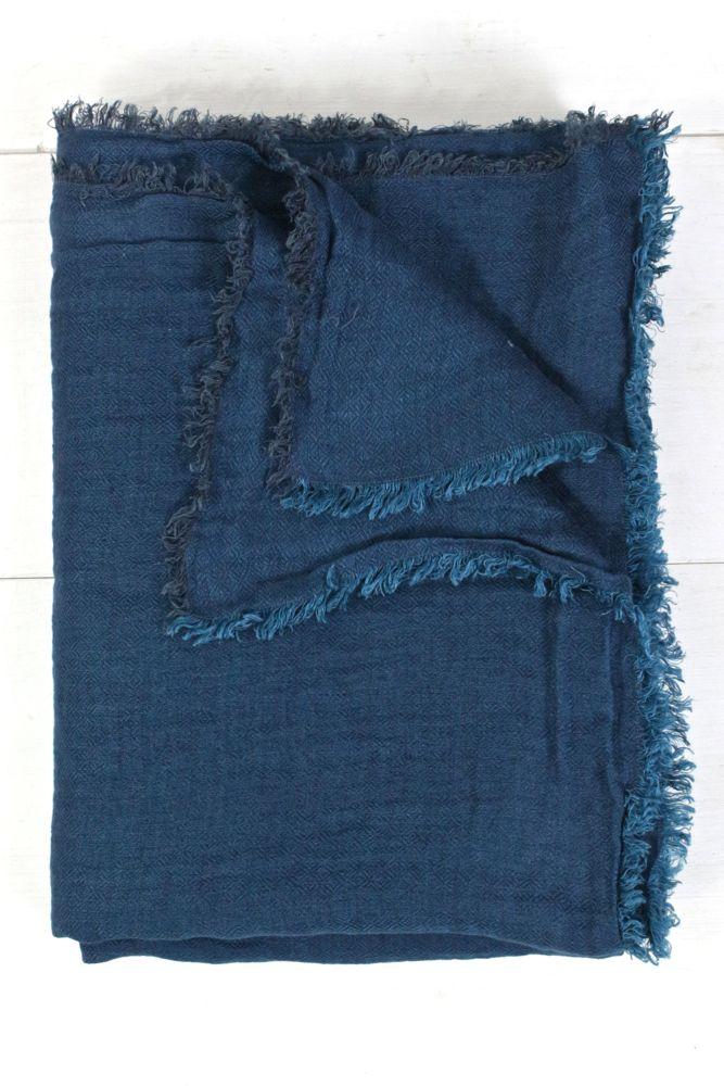 Leinendecke Chevron blau